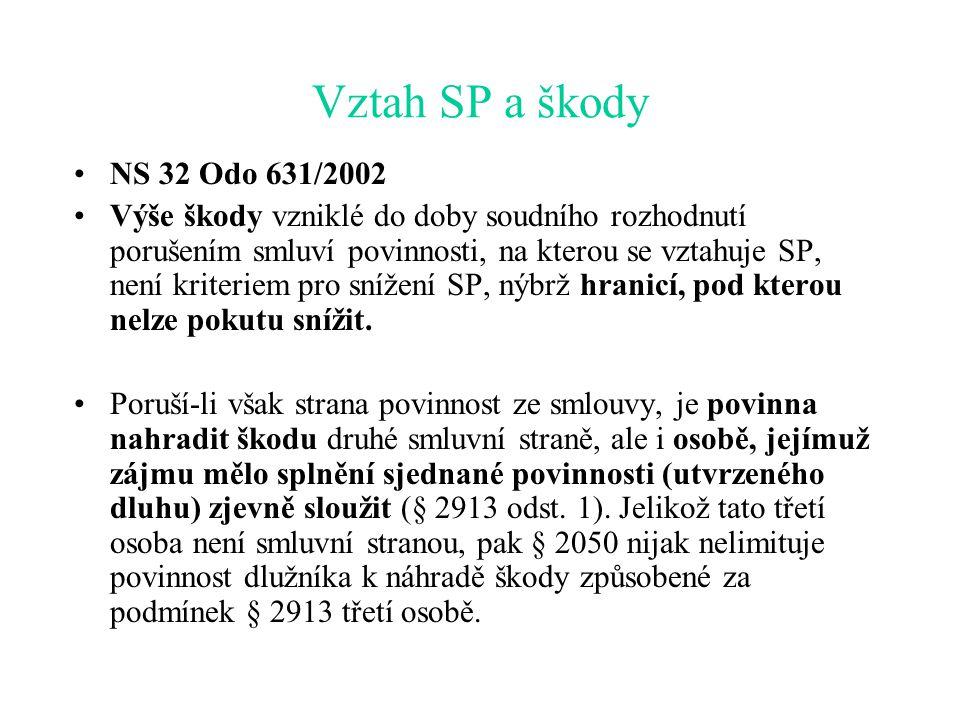 Vztah SP a škody NS 32 Odo 631/2002 Výše škody vzniklé do doby soudního rozhodnutí porušením smluví povinnosti, na kterou se vztahuje SP, není kriteriem pro snížení SP, nýbrž hranicí, pod kterou nelze pokutu snížit.