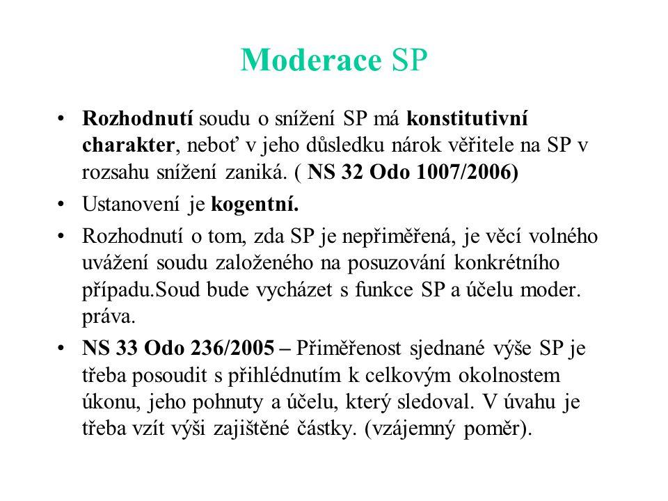 Moderace SP Rozhodnutí soudu o snížení SP má konstitutivní charakter, neboť v jeho důsledku nárok věřitele na SP v rozsahu snížení zaniká.