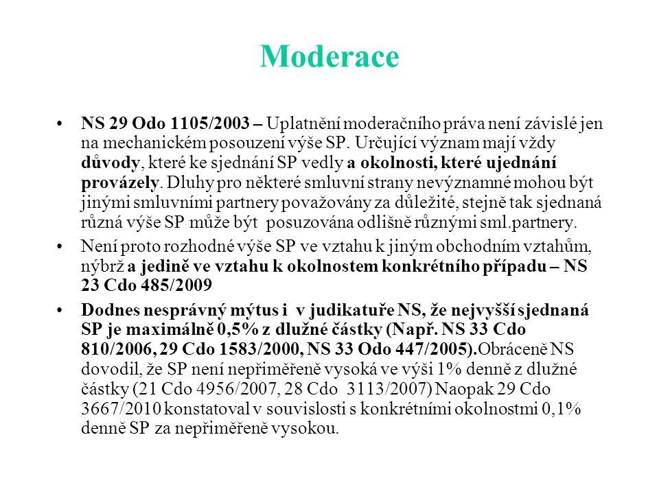 Moderace NS 29 Odo 1105/2003 – Uplatnění moderačního práva není závislé jen na mechanickém posouzení výše SP.