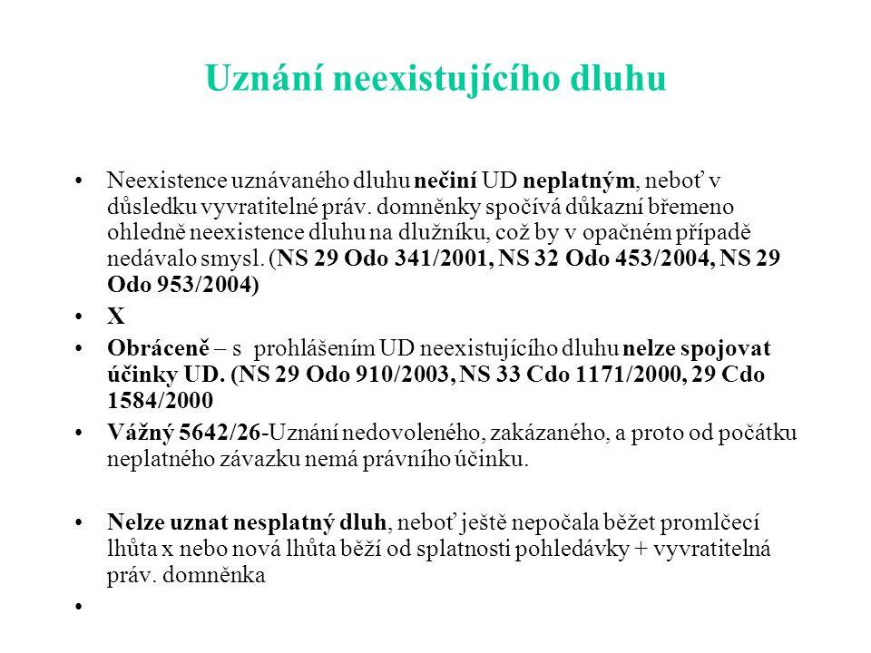 Uznání neexistujícího dluhu Neexistence uznávaného dluhu nečiní UD neplatným, neboť v důsledku vyvratitelné práv.