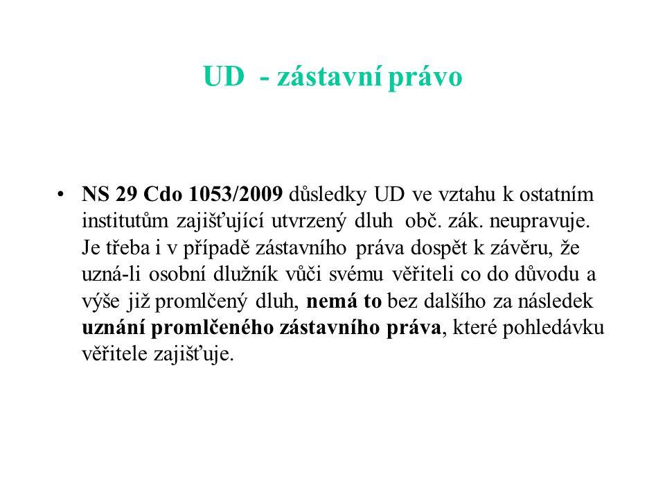 UD - zástavní právo NS 29 Cdo 1053/2009 důsledky UD ve vztahu k ostatním institutům zajišťující utvrzený dluh obč.