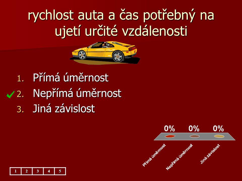rychlost auta a čas potřebný na ujetí určité vzdálenosti 12345 1. Přímá úměrnost 2. Nepřímá úměrnost 3. Jiná závislost