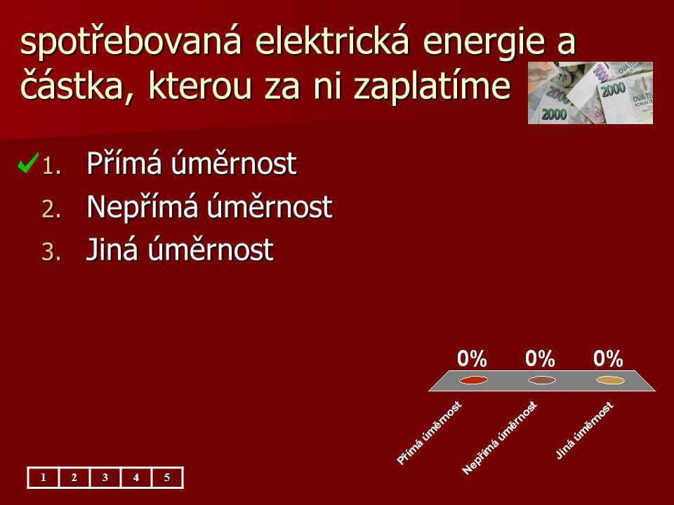 spotřebovaná elektrická energie a částka, kterou za ni zaplatíme 12345 1. Přímá úměrnost 2. Nepřímá úměrnost 3. Jiná úměrnost
