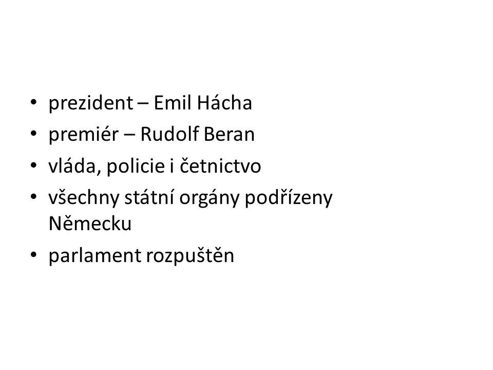 prezident – Emil Hácha premiér – Rudolf Beran vláda, policie i četnictvo všechny státní orgány podřízeny Německu parlament rozpuštěn