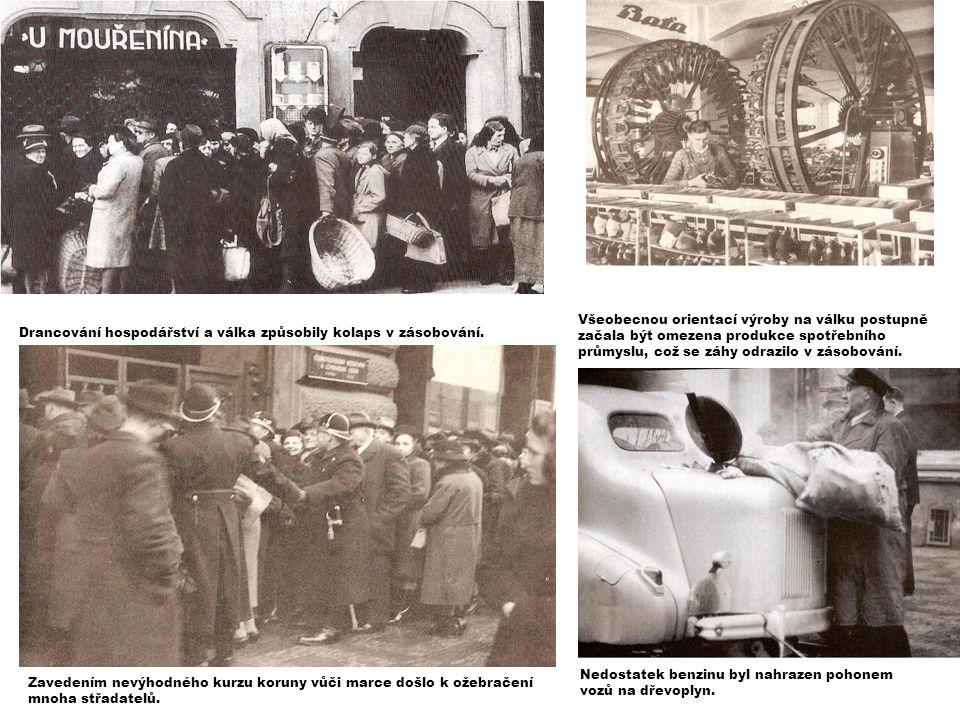 Všeobecnou orientací výroby na válku postupně začala být omezena produkce spotřebního průmyslu, což se záhy odrazilo v zásobování. Nedostatek benzinu