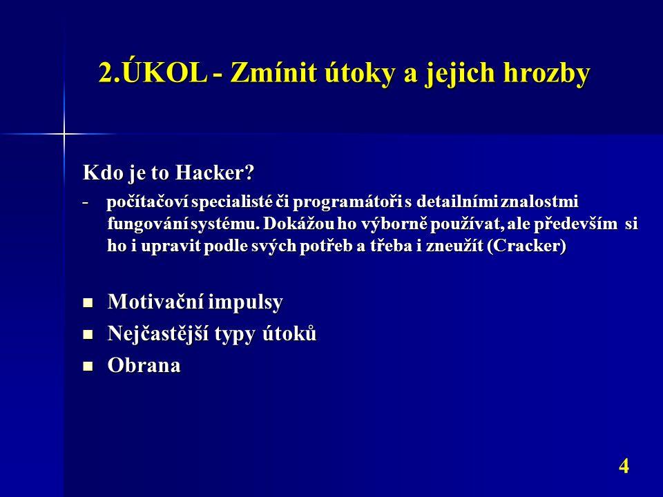 2.ÚKOL - Zmínit útoky a jejich hrozby 4 Kdo je to Hacker.