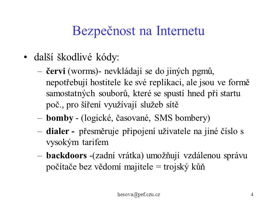 hesova@pef.czu.cz5 Bezpečnost na Internetu –hoax - není virus, ale e-mailová poplašná zpráva, varuje před virem a vyzývá k šíření –makroviry - rozšířily se spolu s kancelářskými balíky, napadají datové soubory, dokumenty (Wordu, Excelu, PowerP….) - Concept jsou nezávislé na platformě a op.