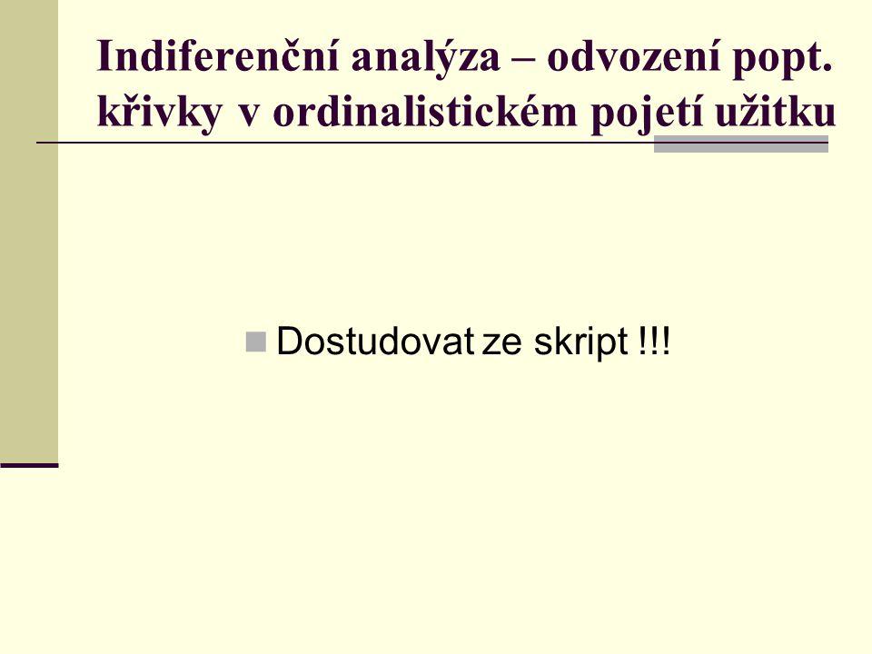 Indiferenční analýza – odvození popt.