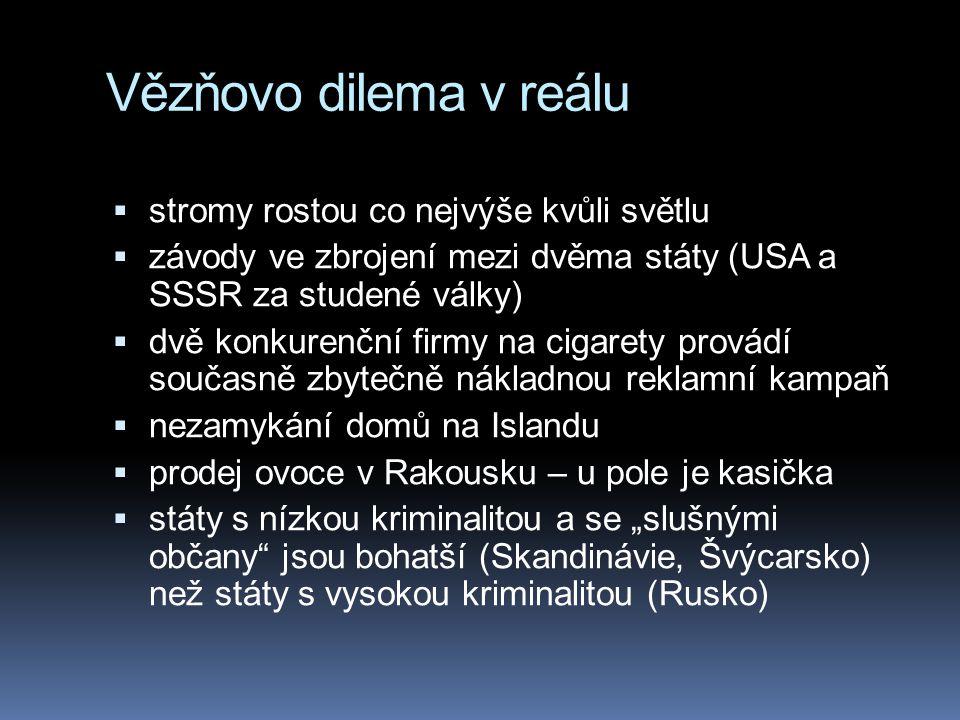 """Vězňovo dilema v reálu  stromy rostou co nejvýše kvůli světlu  závody ve zbrojení mezi dvěma státy (USA a SSSR za studené války)  dvě konkurenční firmy na cigarety provádí současně zbytečně nákladnou reklamní kampaň  nezamykání domů na Islandu  prodej ovoce v Rakousku – u pole je kasička  státy s nízkou kriminalitou a se """"slušnými občany jsou bohatší (Skandinávie, Švýcarsko) než státy s vysokou kriminalitou (Rusko)"""