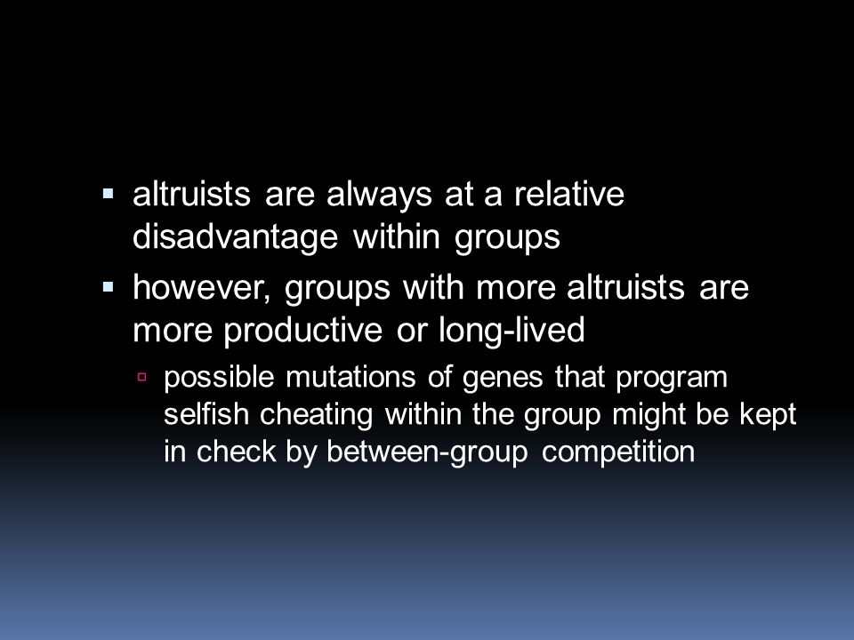  altruists are always at a relative disadvantage within groups  however, groups with more altruists are more productive or long-lived  possible mutations of genes that program selfish cheating within the group might be kept in check by between-group competition