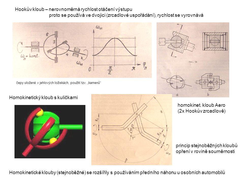 Hookův kloub – nerovnoměrná rychlost otáčení výstupu proto se používá ve dvojici (zrcadlové uspořádání), rychlost se vyrovnává Homokinetické klouby (s