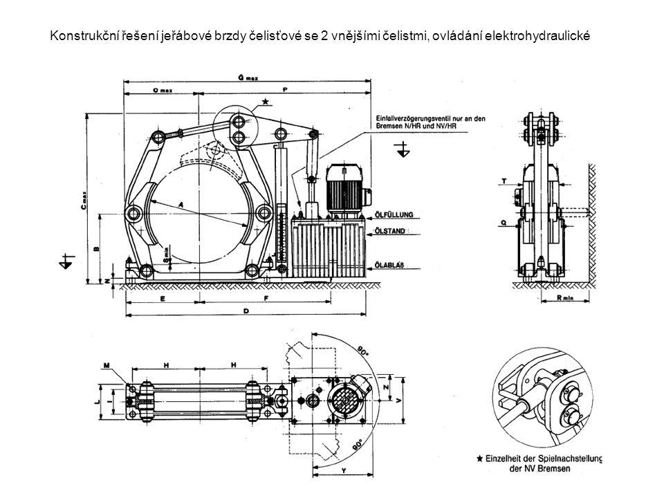 Konstrukční řešení jeřábové brzdy čelisťové se 2 vnějšími čelistmi, ovládání elektrohydraulické