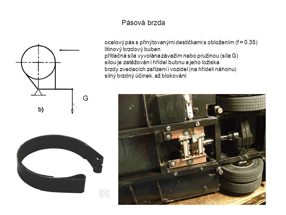 Pásová brzda G ocelový pás s přinýtovanými destičkami s obložením (f = 0,35) litinový brzdový buben přítlačná síla vyvolána závažím nebo pružinou (síl