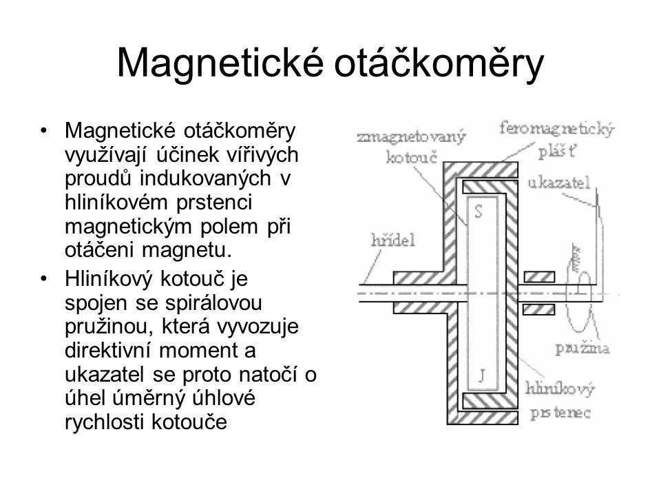 Magnetické otáčkoměry Magnetické otáčkoměry využívají účinek vířivých proudů indukovaných v hliníkovém prstenci magnetickým polem při otáčeni magnetu.