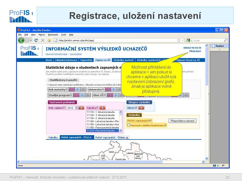 """22 ProFIS1 – Seminář """"Kritické momenty využitelnosti státních maturit , 27.9.2011 Registrace, uložení nastavení Možnost přihlášení do aplikace = jen pokud si chceme v aplikaci uložit svá nastavení zobrazení grafů."""