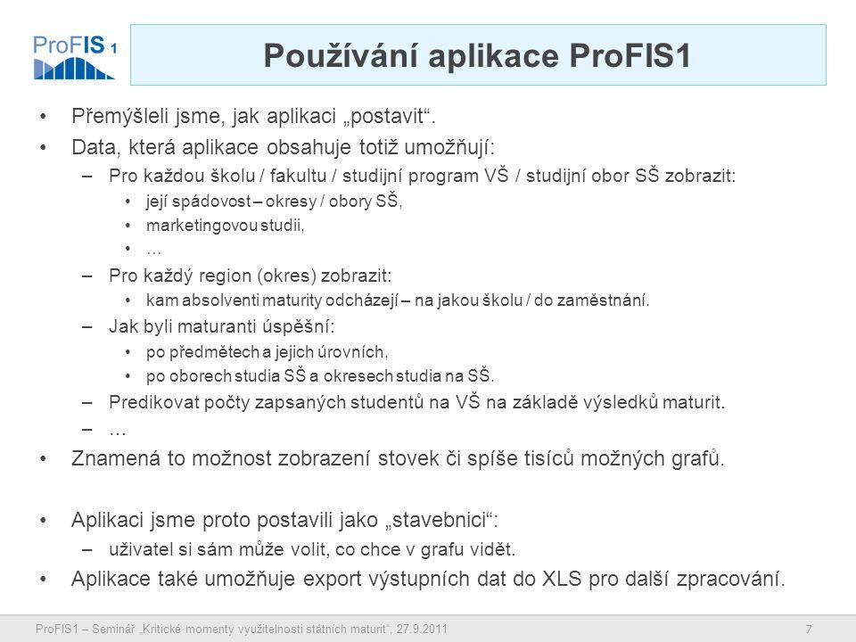 """7 ProFIS1 – Seminář """"Kritické momenty využitelnosti státních maturit , 27.9.2011 Používání aplikace ProFIS1 Přemýšleli jsme, jak aplikaci """"postavit ."""