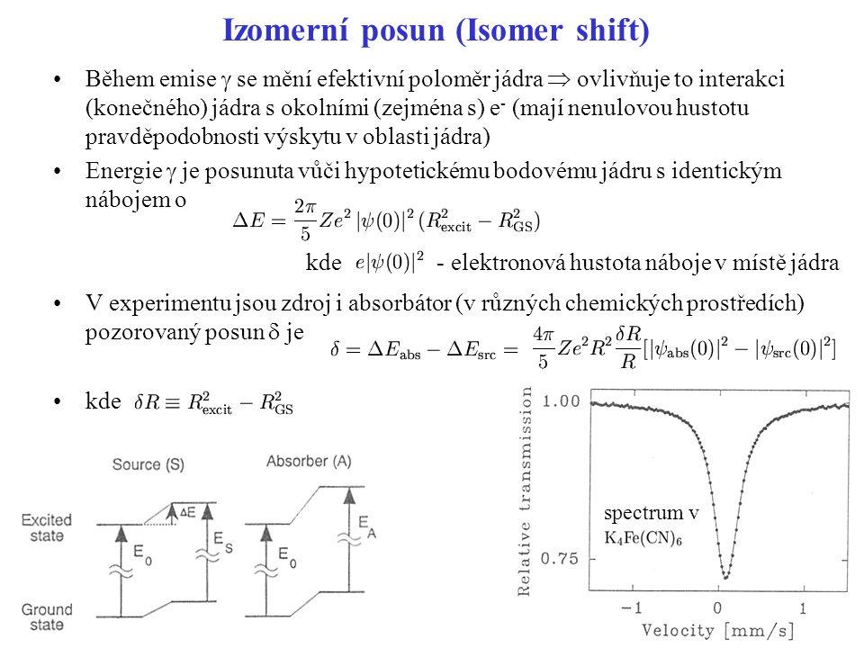 Izomerní posun (Isomer shift) Během emise  se mění efektivní poloměr jádra  ovlivňuje to interakci (konečného) jádra s okolními (zejména s) e - (mají nenulovou hustotu pravděpodobnosti výskytu v oblasti jádra) Energie  je posunuta vůči hypotetickému bodovému jádru s identickým nábojem o V experimentu jsou zdroj i absorbátor (v různých chemických prostředích) pozorovaný posun  je kde kde - elektronová hustota náboje v místě jádra spectrum v