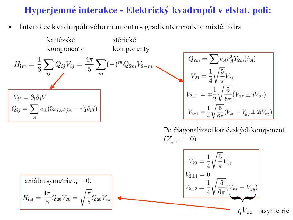 Hyperjemné interakce - Elektrický kvadrupól v elstat. poli: kartézské komponenty sférické komponenty Po diagonalizaci kartézských komponent (V xy,...