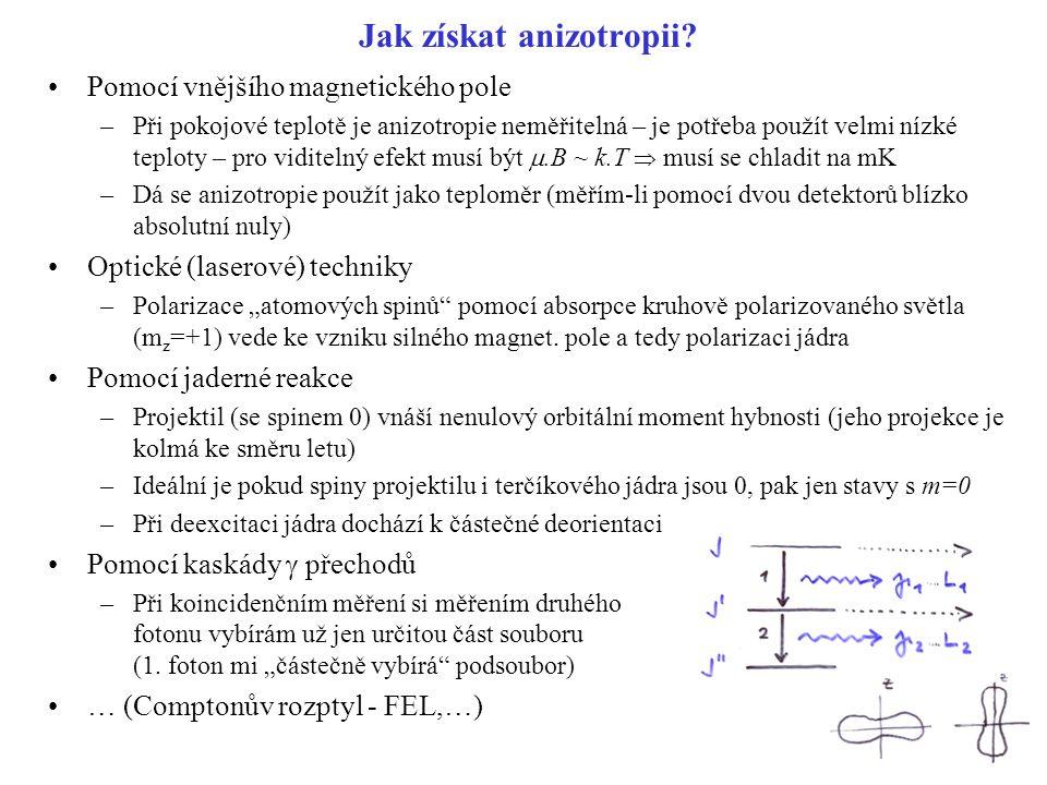 Jak získat anizotropii? Pomocí vnějšího magnetického pole –Při pokojové teplotě je anizotropie neměřitelná – je potřeba použít velmi nízké teploty – p