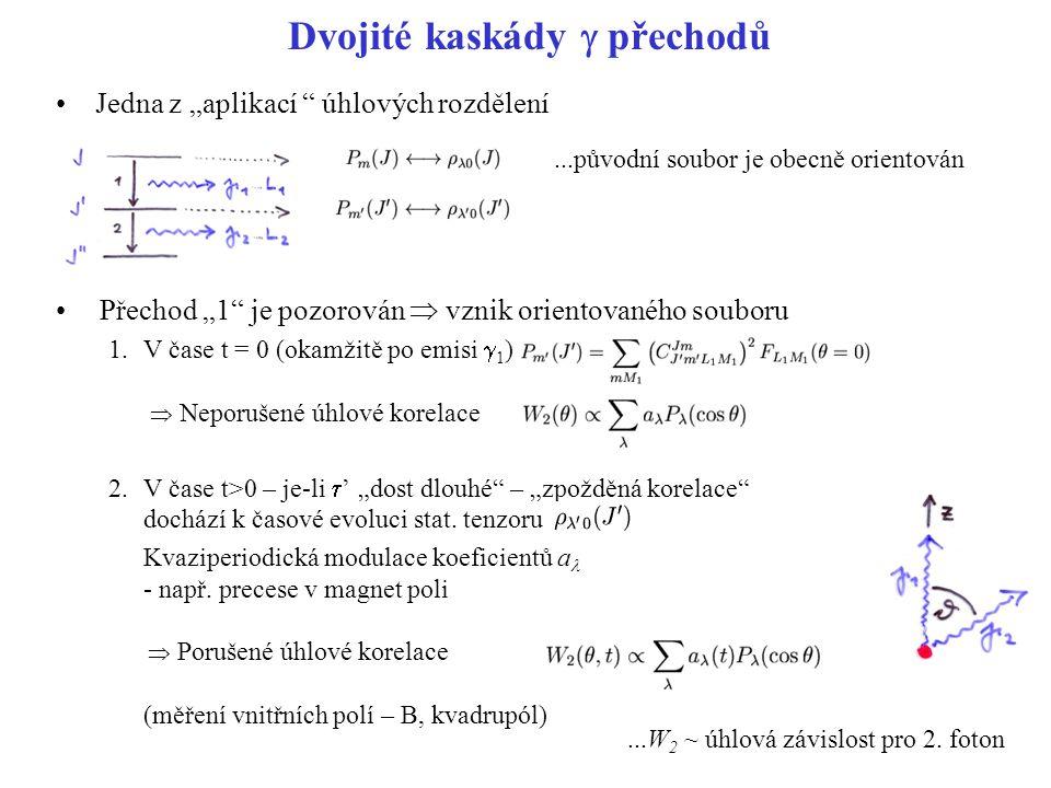 """Dvojité kaskády  přechodů Jedna z """"aplikací úhlových rozdělení Přechod """"1 je pozorován  vznik orientovaného souboru 1.V čase t = 0 (okamžitě po emisi  1 )  Neporušené úhlové korelace 2.V čase t>0 – je-li  ' """"dost dlouhé – """"zpožděná korelace dochází k časové evoluci stat."""