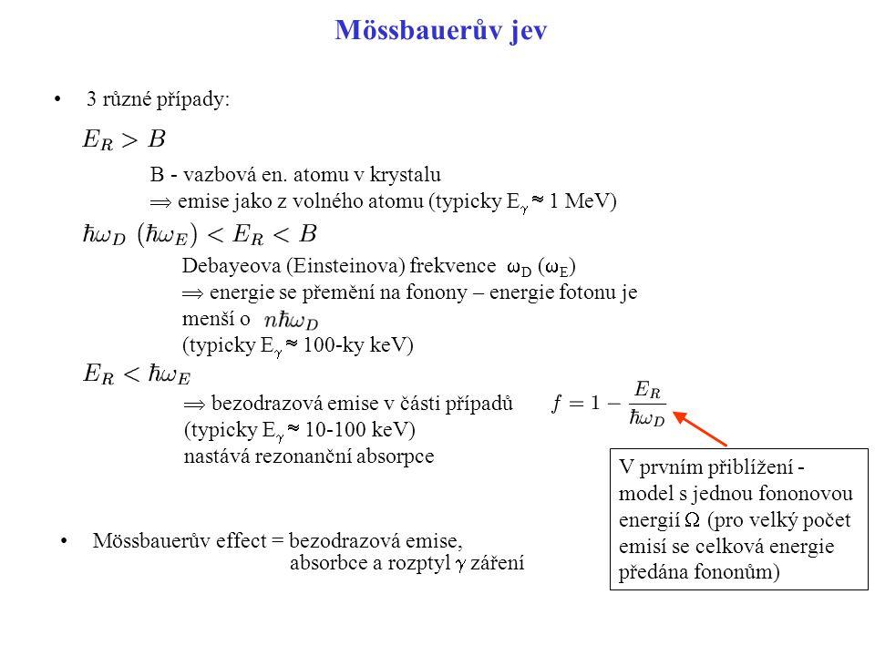 Mössbauerův jev 3 různé případy: Mössbauerův effect = bezodrazová emise, absorbce a rozptyl  záření B - vazbová en. atomu v krystalu  emise jako z v