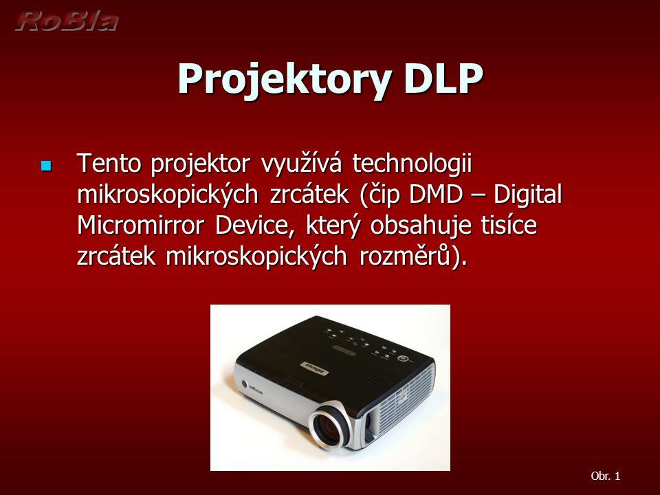 Projektory DLP Tento projektor využívá technologii mikroskopických zrcátek (čip DMD – Digital Micromirror Device, který obsahuje tisíce zrcátek mikros