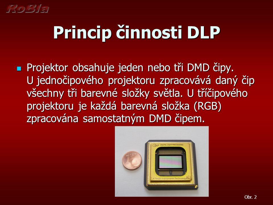 Princip činnosti DLP Projektor obsahuje jeden nebo tři DMD čipy. U jednočipového projektoru zpracovává daný čip všechny tři barevné složky světla. U t