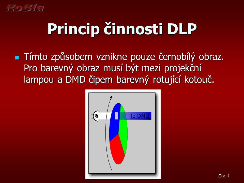 Princip činnosti DLP Tímto způsobem vznikne pouze černobílý obraz. Pro barevný obraz musí být mezi projekční lampou a DMD čipem barevný rotující kotou