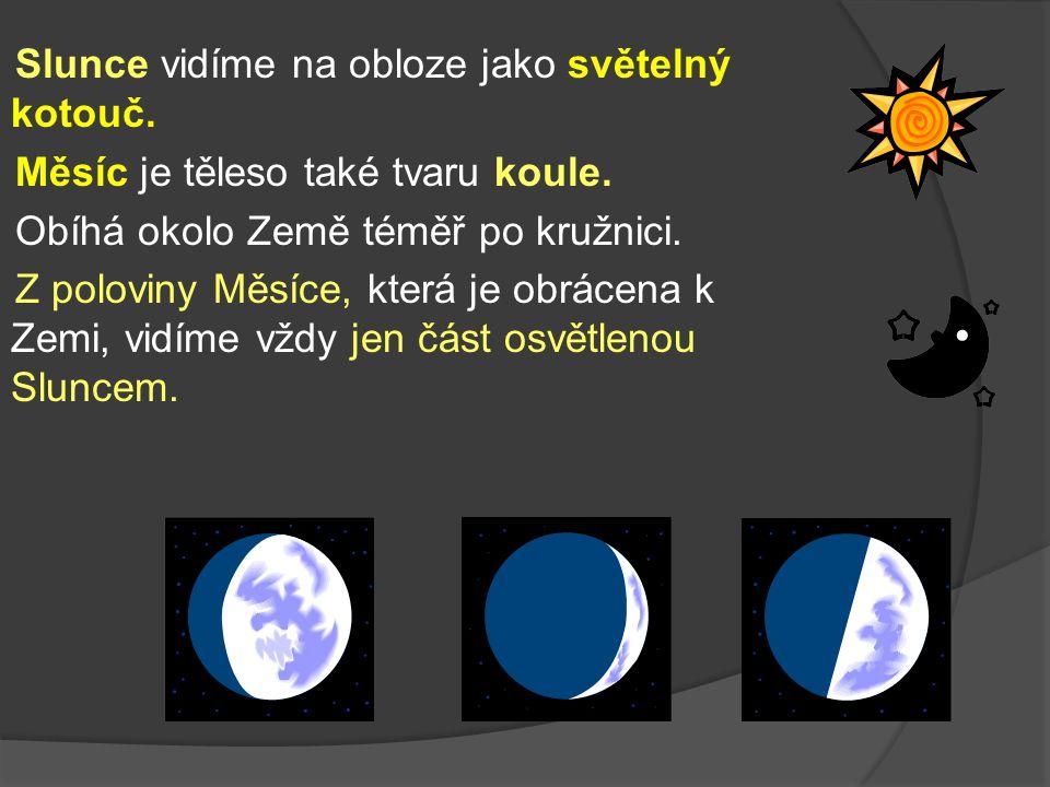 Slunce vidíme na obloze jako světelný kotouč. Měsíc je těleso také tvaru koule.