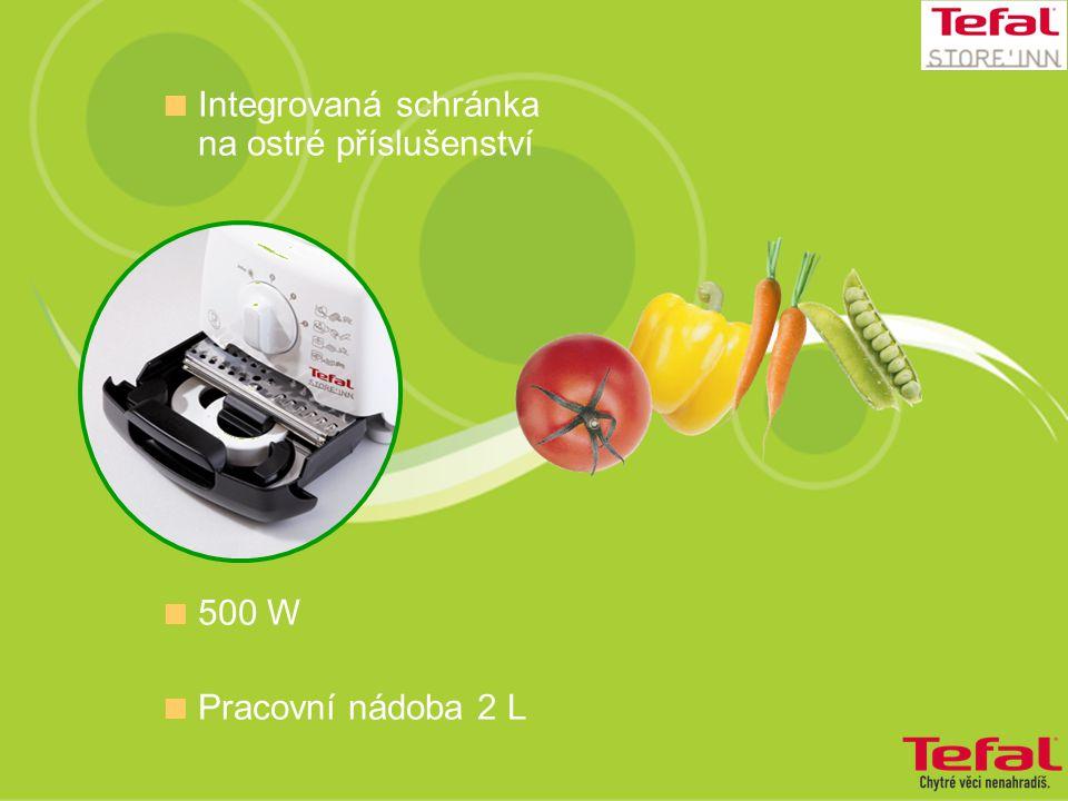  Integrovaná schránka na ostré příslušenství  500 W  Pracovní nádoba 2 L