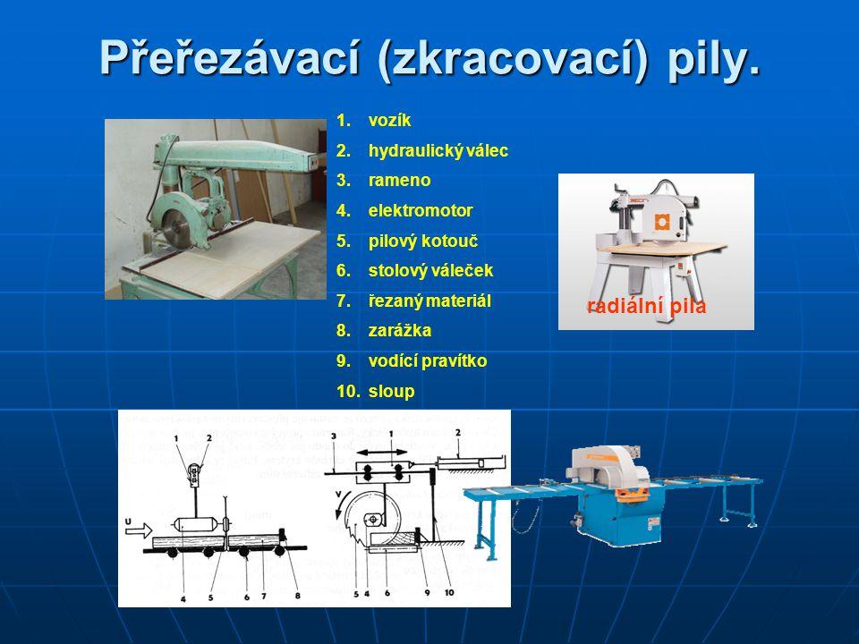 Přeřezávací (zkracovací) pily. radiální pila 1.vozík 2.hydraulický válec 3.rameno 4.elektromotor 5.pilový kotouč 6.stolový váleček 7.řezaný materiál 8
