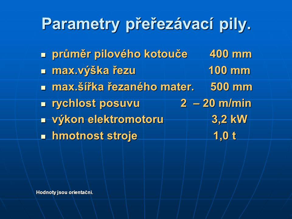 Parametry přeřezávací pily. průměr pilového kotouče 400 mm průměr pilového kotouče 400 mm max.výška řezu 100 mm max.výška řezu 100 mm max.šířka řezané