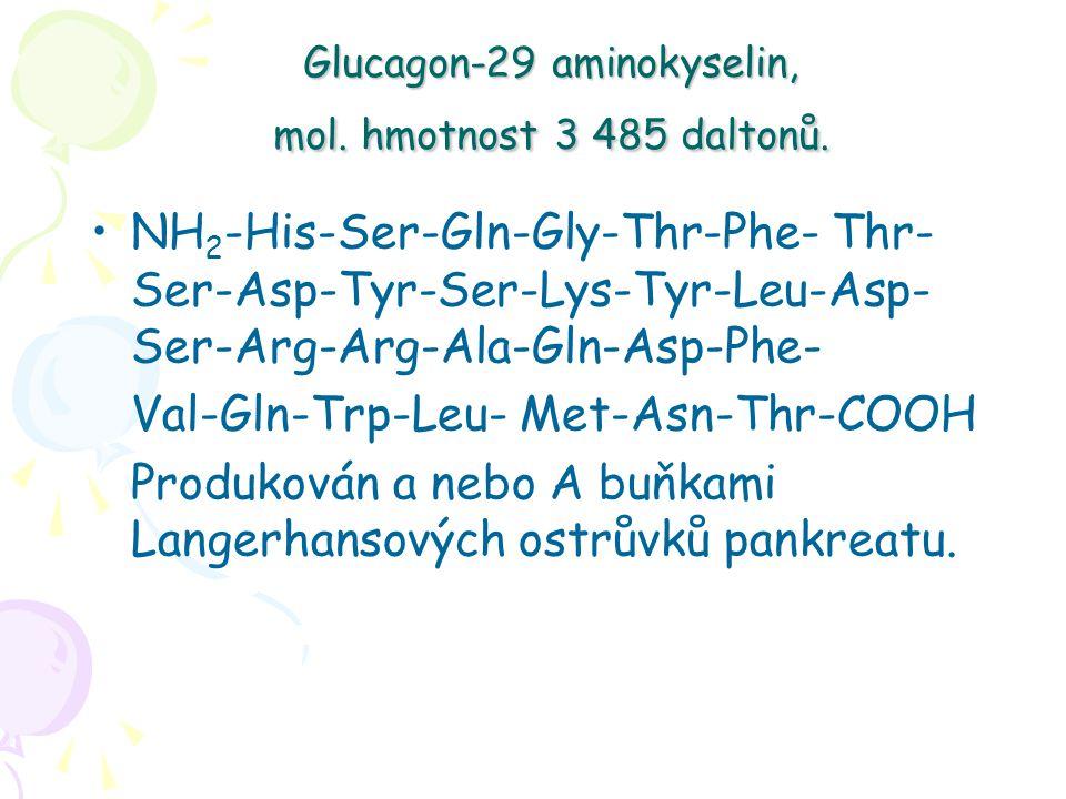 Glucagon-29 aminokyselin, mol.hmotnost 3 485 daltonů.