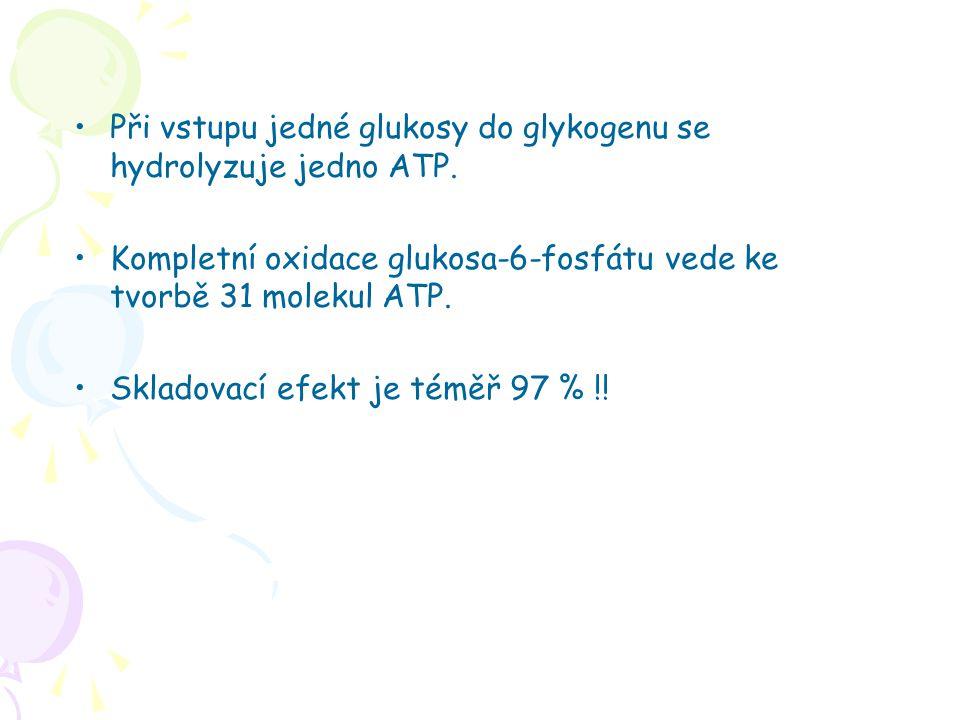 Při vstupu jedné glukosy do glykogenu se hydrolyzuje jedno ATP. Kompletní oxidace glukosa-6-fosfátu vede ke tvorbě 31 molekul ATP. Skladovací efekt je