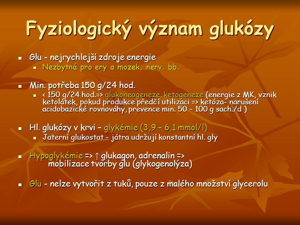 Fyziologický význam glukózy Glu - nejrychlejší zdroje energie Glu - nejrychlejší zdroje energie Nezbytná pro ery a mozek, nerv. bb. Nezbytná pro ery a