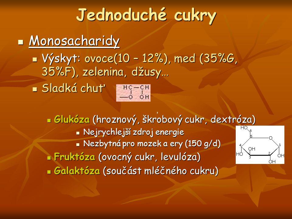 Jednoduché cukry Monosacharidy Monosacharidy Výskyt: ovoce(10 – 12%), med (35%G, 35%F), zelenina, džusy… Výskyt: ovoce(10 – 12%), med (35%G, 35%F), ze