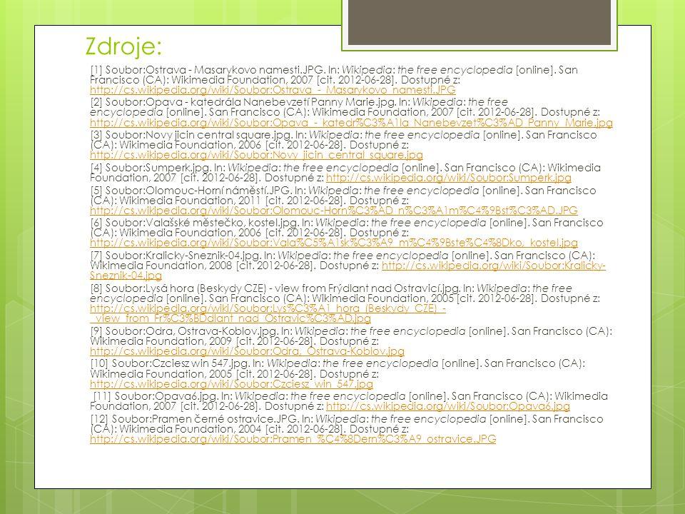Zdroje: [1] Soubor:Ostrava - Masarykovo namesti.JPG. In: Wikipedia: the free encyclopedia [online]. San Francisco (CA): Wikimedia Foundation, 2007 [ci