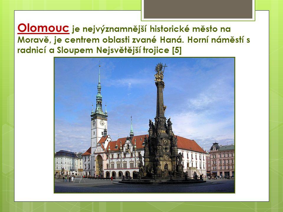 Olomouc je nejvýznamnější historické město na Moravě, je centrem oblasti zvané Haná. Horní náměstí s radnicí a Sloupem Nejsvětější trojice [5]