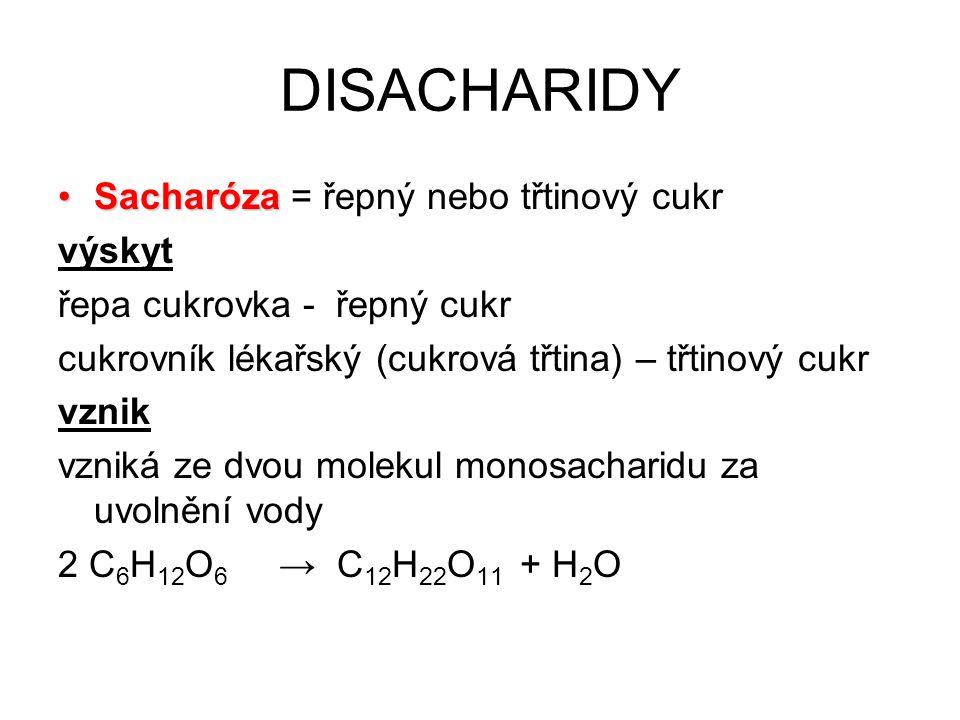 Vlastnosti sacharosy: bílá, krystalická látka dobře rozpustná ve vodě sladká chuť Využití: nejběžnější domácí sladidlo (cukr)