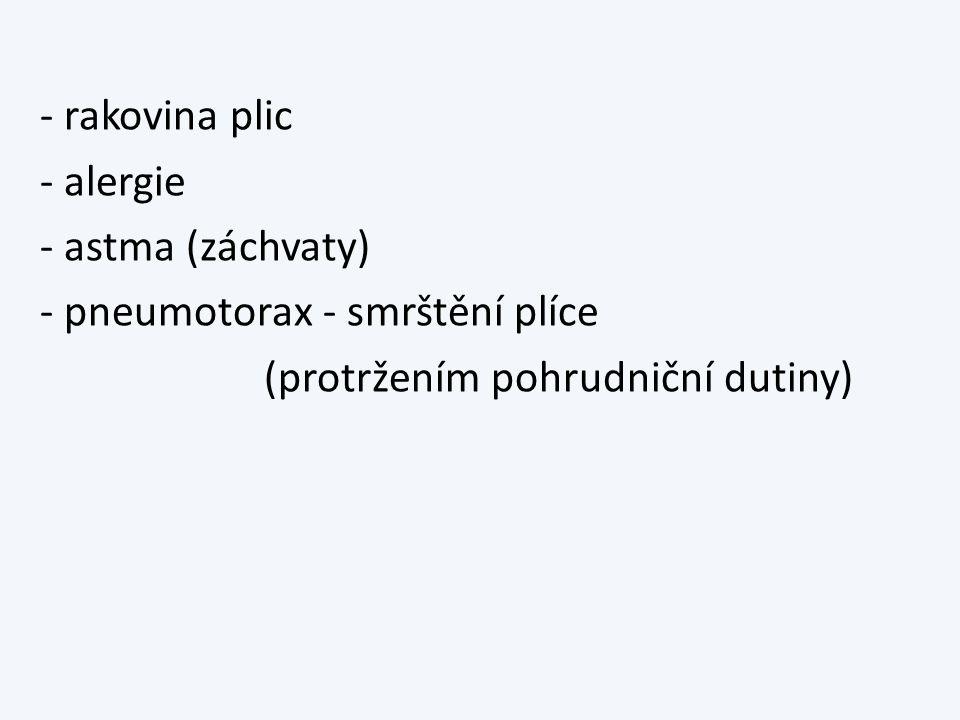 - rakovina plic - alergie - astma (záchvaty) - pneumotorax - smrštění plíce (protržením pohrudniční dutiny)