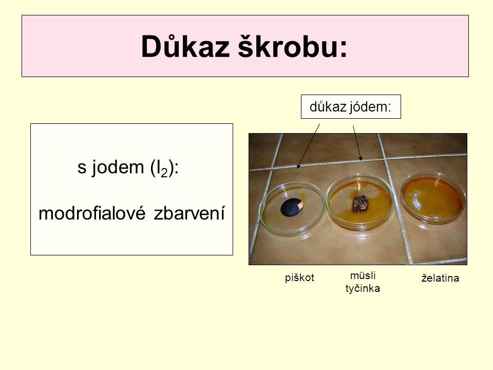 Důkaz škrobu: s jodem (I 2 ): modrofialové zbarvení piškot müsli tyčinka želatina důkaz jódem: