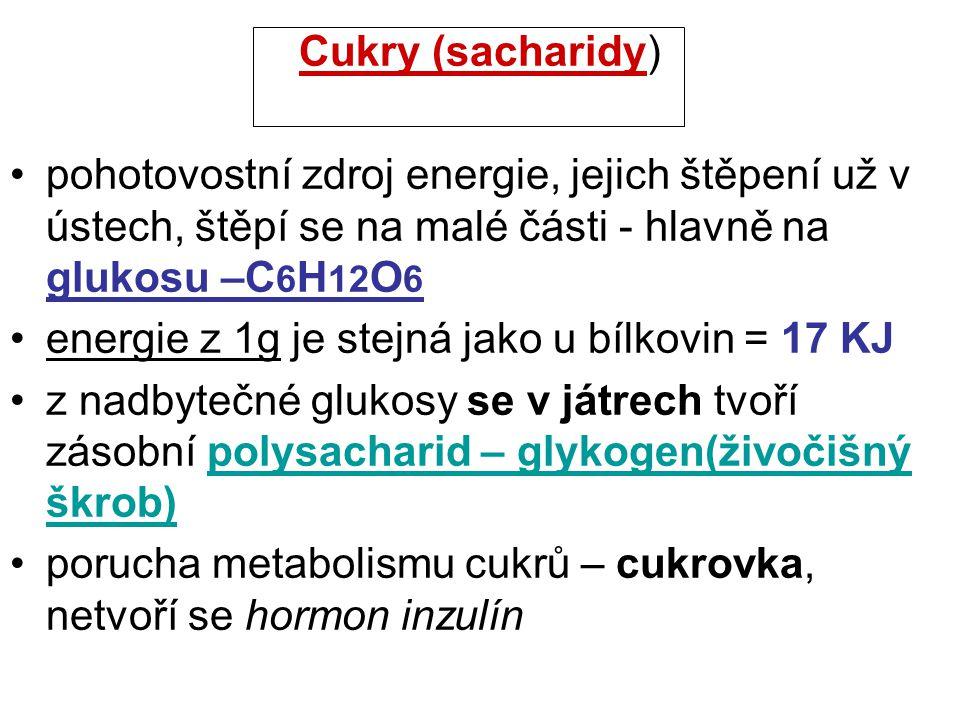 Cukry (sacharidy) pohotovostní zdroj energie, jejich štěpení už v ústech, štěpí se na malé části - hlavně na glukosu –C 6 H 12 O 6 energie z 1g je ste