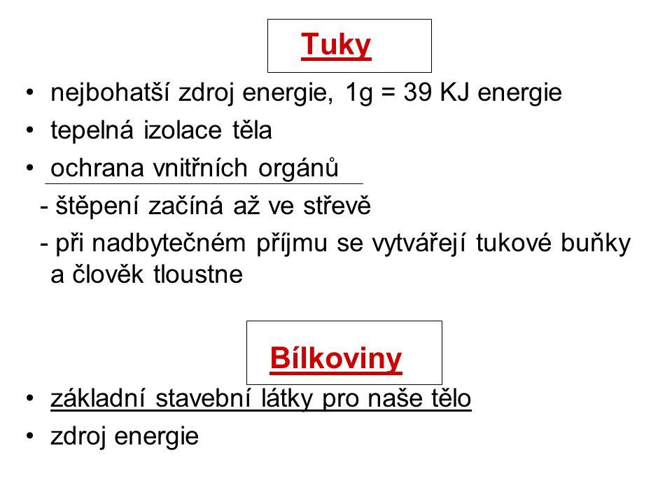 Tuky nejbohatší zdroj energie, 1g = 39 KJ energie tepelná izolace těla ochrana vnitřních orgánů - štěpení začíná až ve střevě - při nadbytečném příjmu