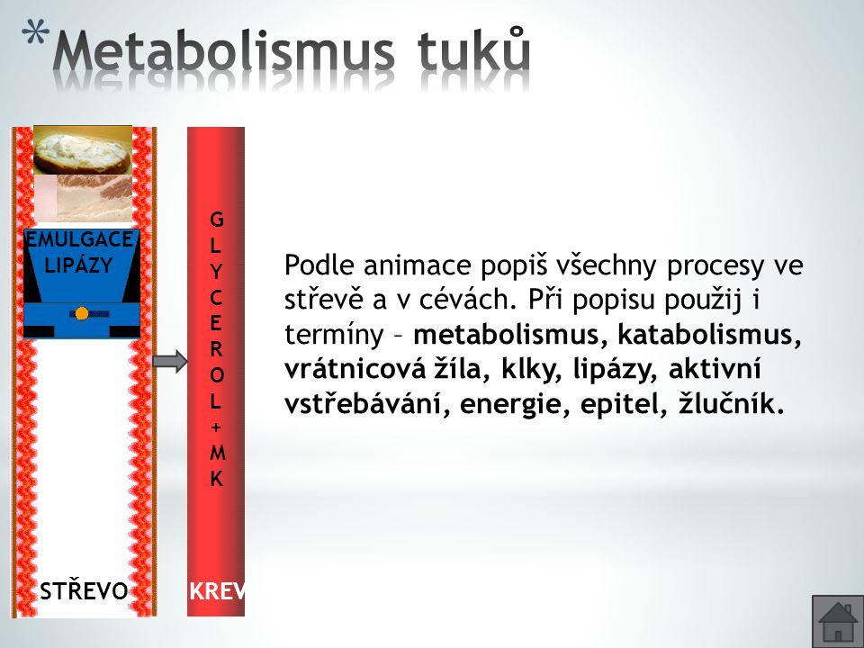 KREV GLYCEROL+MKGLYCEROL+MK STŘEVO Glycerol + MK Emulgace Glycerol + MK Emulgace EMULGACE LIPÁZY Podle animace popiš všechny procesy ve střevě a v cév