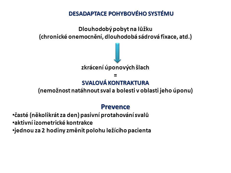 DESADAPTACE POHYBOVÉHO SYSTÉMU Dlouhodobý pobyt na lůžku (chronické onemocnění, dlouhodobá sádrová fixace, atd.) zkrácení úponových šlach = SVALOVÁ KO