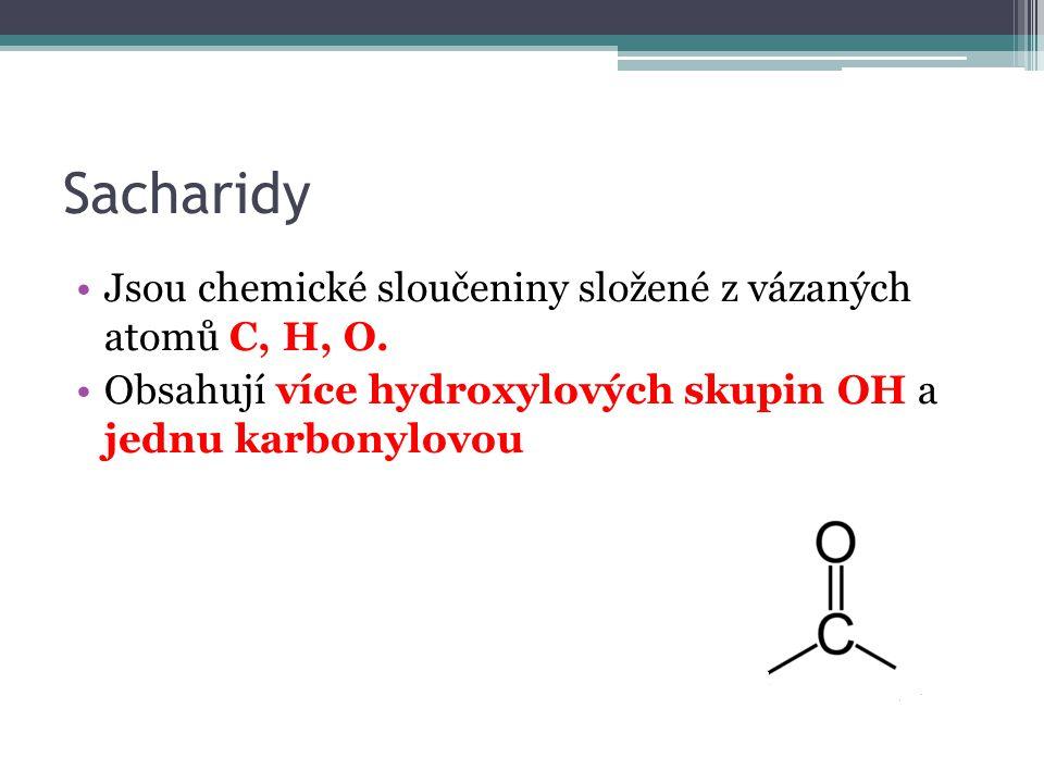 Sacharidy nejrozšířenější přírodní látky přítomné ve všech rostlinných a živočišných buňkách V zelených rostlinách vznikají fotosyntézou ze vzdušného CO2 a vody H2O účinkem slunečního záření za přítomnosti chlorofylu 6 CO2 + 6 H2O -> C6H12O6 + 6 O2