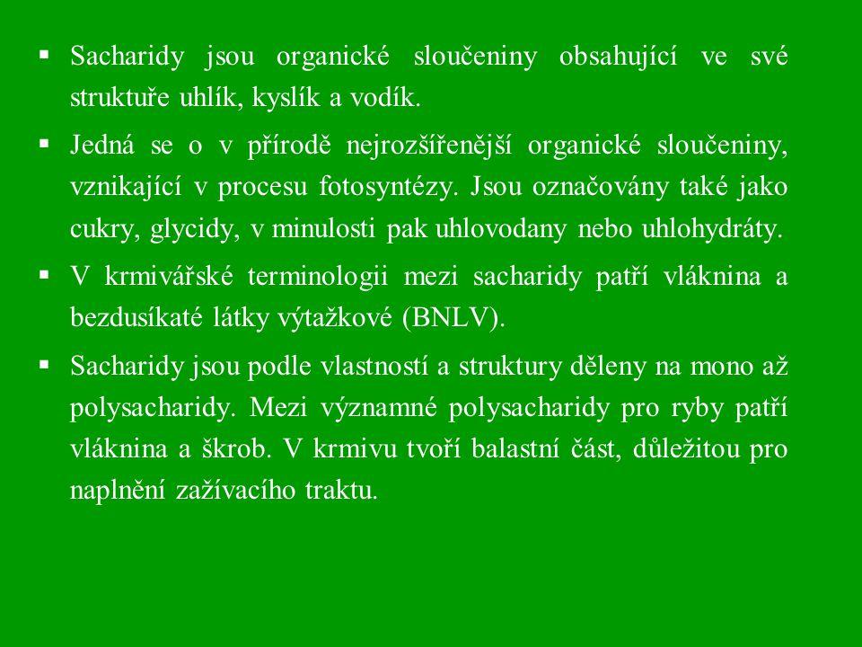  Sacharidy jsou organické sloučeniny obsahující ve své struktuře uhlík, kyslík a vodík.