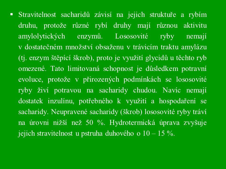  Doporučený obsah neupravených sacharidů v krmných směsích pro pstruha duhového by neměl být vyšší než 12 %, obsah hydrotermicky upravených sacharidů do 20 – 22 %.