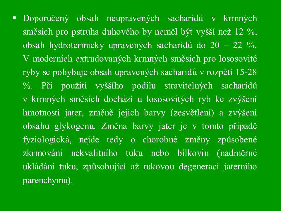  Zažívací trakt kaprovitých ryb produkuje amylolitické enzymy (amyláza a maltáza), ve srovnání s lososovitými rybami efektivněji využívají sacharidy v krmných směsích (sacharidové krmné směsi).