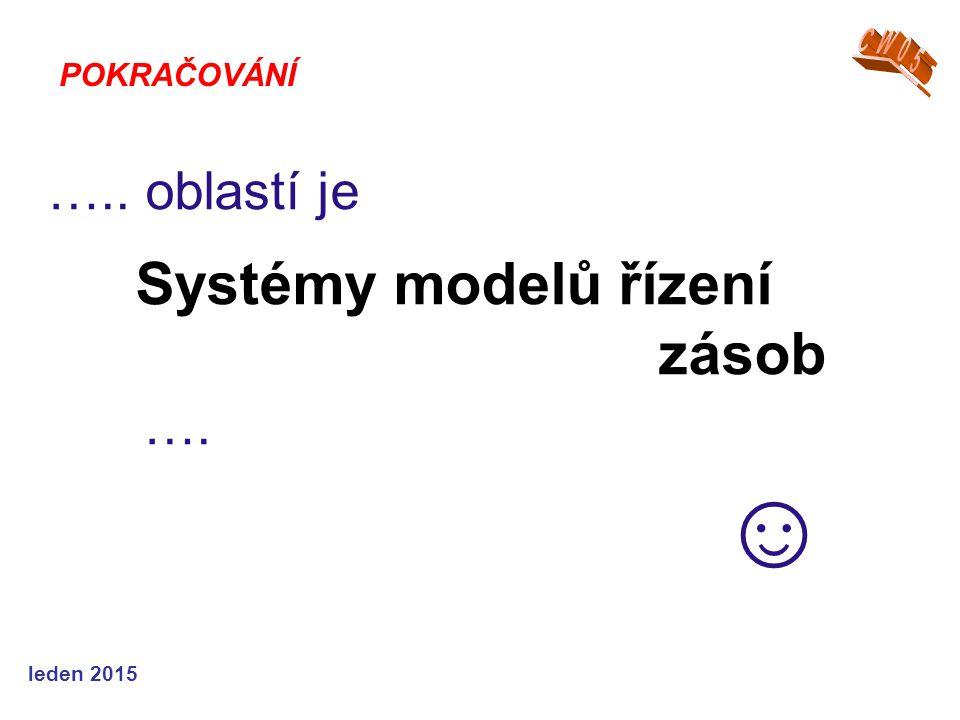 leden 2015 ….. oblastí je Systémy modelů řízení zásob …. ☺ POKRAČOVÁNÍ